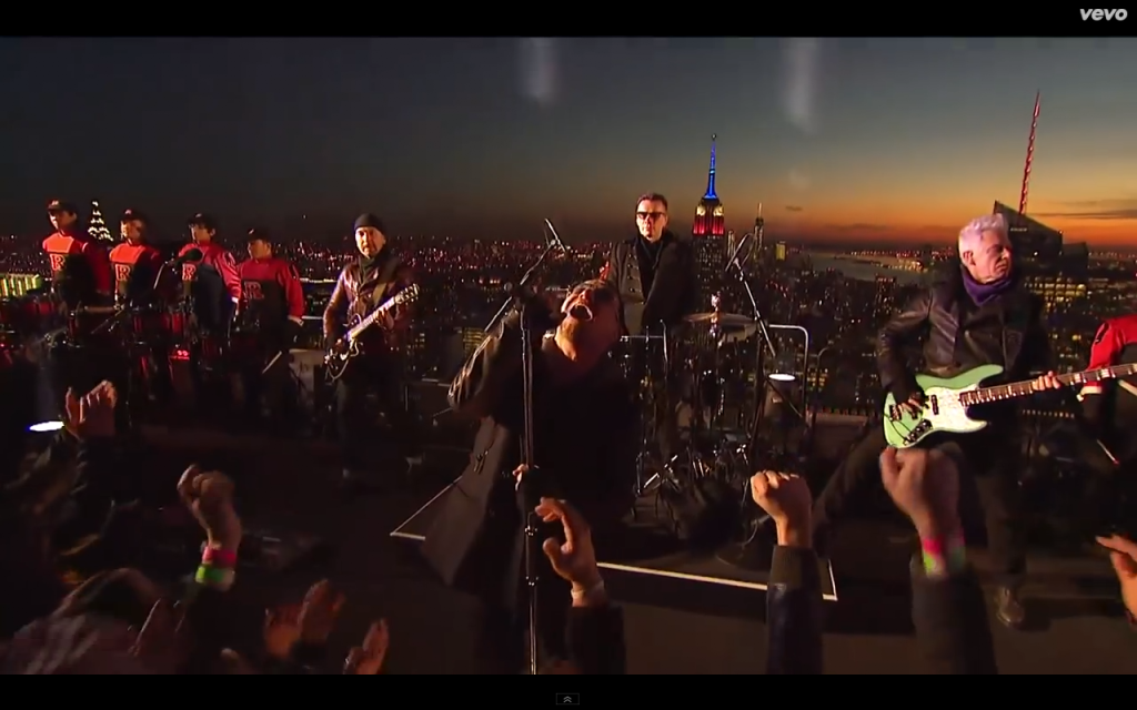 U2 perform Invisible on The Tonight Show with Jimmy Kimmel in NYC