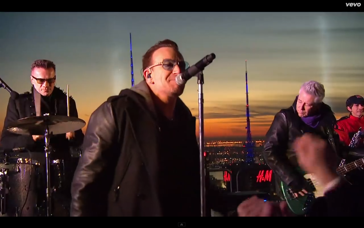 Video screen grab 3 of U2 performing Invisible on The Tonight Show with Jimmy Kimmel